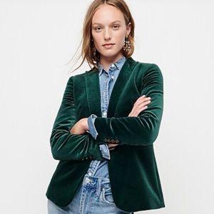 J.Crew- Velvet Blazer In Emerald Green.